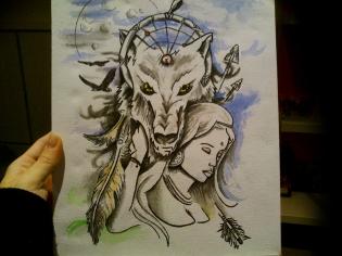 Lobo y mujer